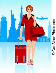 kvinna, bagage