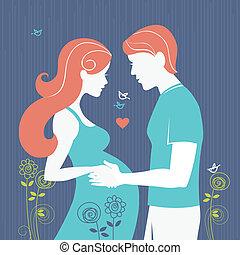 kvinna, bakgrund, par., make, regnant, henne, silhuett