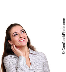 kvinna, bakgrund, utrymme, isolerat, se, ovanför, le, avskrift, vit, tom
