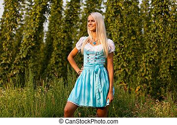 kvinna, bayersk, dirndl