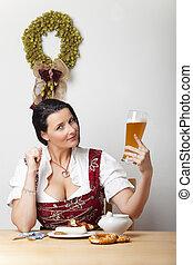 kvinna, bayersk, korvar, dirndl