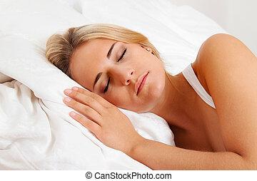 kvinna, bed., sova