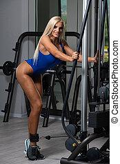 kvinna, ben, maskin, övning