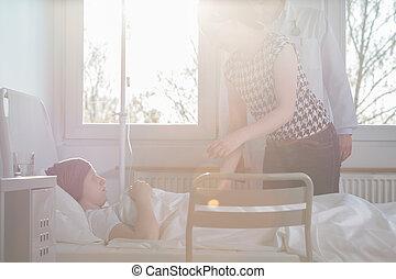kvinna, besökande, lidande, barn