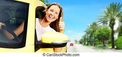 kvinna, bil, driver.
