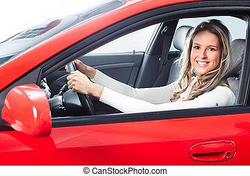 kvinna, bil