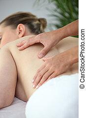 kvinna, bland, massera, baksida
