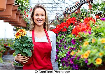 kvinna, blomma, arbete, blomsterhandlare, shop.