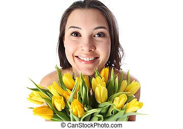kvinna, blomningen, lycklig