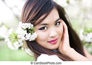 kvinna, blomningen, ung, charry