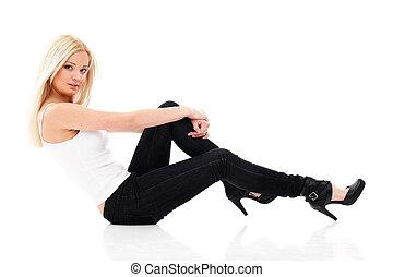 kvinna, blond