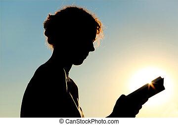 kvinna, bok, ung, solljus, ringla, läsning, sida se