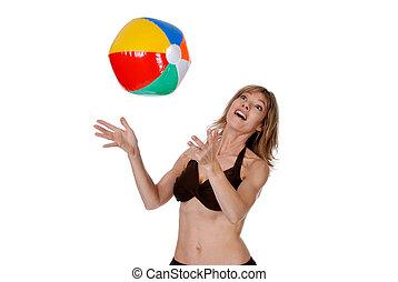 kvinna, boll, leka, strand