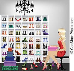 kvinna, boutique, försökande, skor, blondin