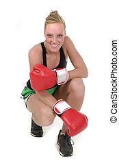 kvinna, boxare, 3