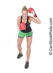 kvinna, boxare, 4