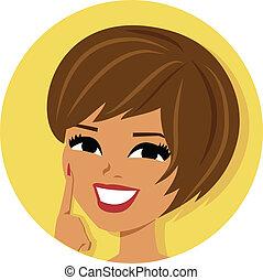 kvinna, brunett, ikon
