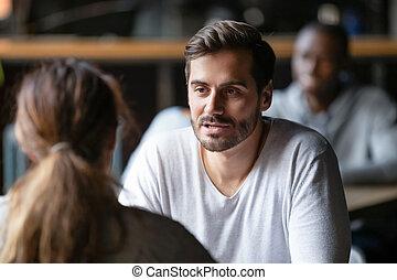 kvinna, cafe, flickvän, man, konversation, allvarlig, ung, ha