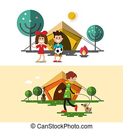Hund, kamping tält. Söt, litet, camping, hund, illustration
