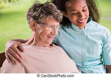 kvinna, carer, tillsammans