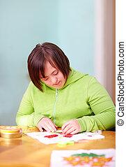 kvinna, centrera, upptagen, handikapp, ung, hantverk, vuxen...