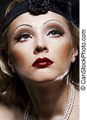 kvinna, century., nypremiär, 30, xx, portrait., retro, smink...