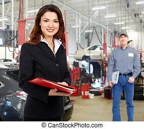 kvinna, chef, in, bil reparera, service.