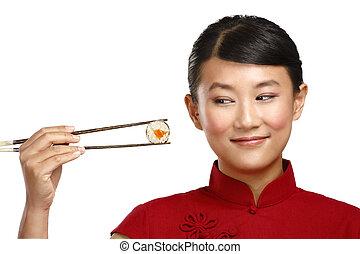 kvinna, chinese mat, visande, pinne, asiat, användande