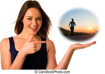 kvinna, copyspace, fästen, hand, asiat, caucasian, lycklig