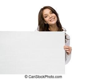 kvinna, copyspace, smiley, holdingen
