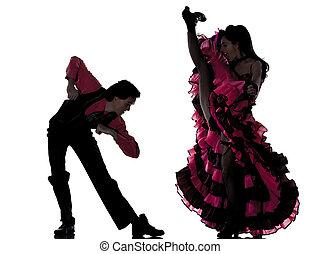 kvinna dans, par, cancan, dansare, fransk, man
