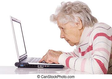 kvinna, dator, äldre