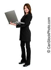 kvinna, dator