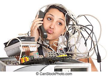 kvinna, dator understödj