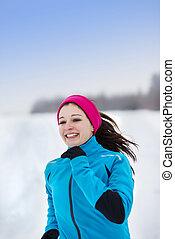 kvinna direktion, in, vinter