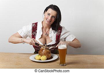 kvinna, dirndl, fläsk, bayersk