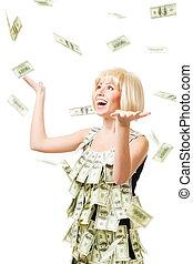 kvinna, dollars, miljon, -, regna, vann