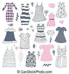 kvinna, doodle., illustration, hand, vektor, oavgjord, freehand, mode, klänningar