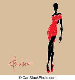 kvinna, dress., mode, röd