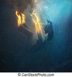 kvinna, eld, undervattens