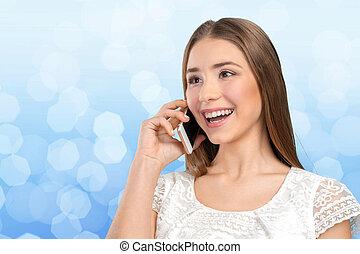 kvinna, elegant, mobil, ung, ringa, talande