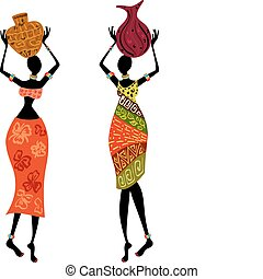 kvinna, etnisk, vas