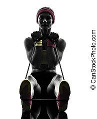 kvinna, exercerande, fitness, genomkörare, motstånd, streck, silhuett