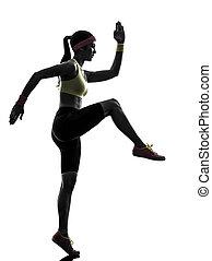 kvinna, exercerande, fitness, genomkörare, silhuett