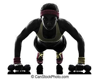 kvinna, exercerande, fitness, genomkörare, trycka, ups,...