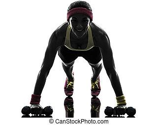 kvinna, exercerande, fitness, genomkörare, trycka, ups, silhuett