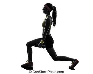 kvinna, exercerande, fitness, genomkörare, viktutbildning, silhuett