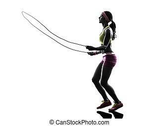 kvinna, exercerande, fitness, hoppning lina, silhuett