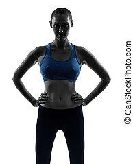 kvinna, exercerande, fitness, stående, silhuett