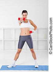 kvinna, exercerande, fitness